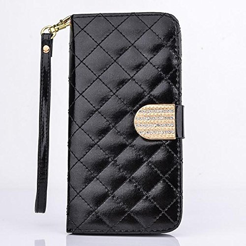 Big Mango Multipurpose Fashion Wristlet Case Plaid Design Flip Stand Folio PU Leather Case and Wallet Cover for Samsung Galaxy Note 4 Note IV with Multiple ID Card Holders & Crystal Magnet Closure - Black