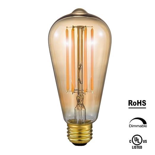 rohsce 6 W ST64 E26 Vintage Edison Bombillas LED amarillo oro antiguo filamento de luz para