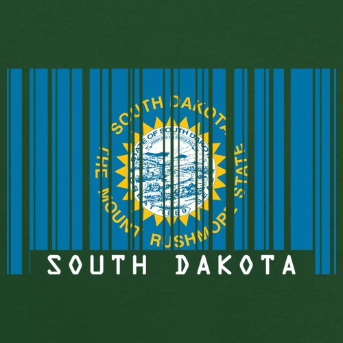 South Dakota / Süd-Dakota Barcode Flagge - Herren T-Shirt - Flaschengrün - XL