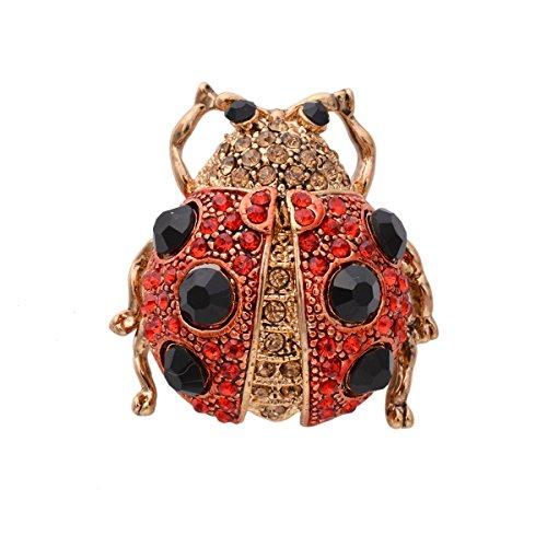 OBONNIE Red, Black Austrian Crystal Enamel Ladybug Brooch Pins Beetle Lapel Pin (Red)