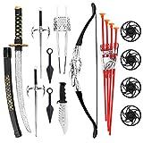 Liberty Imports Ninja Warrior Bow & Arrow Archery Set for Kids with Katana Sword and Toy Weapons