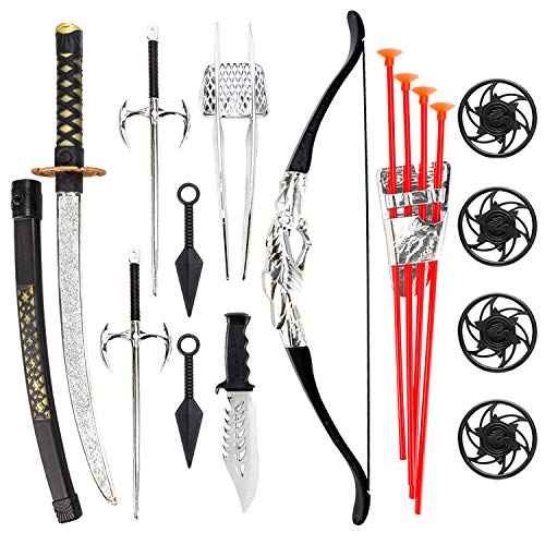 Liberty Imports Ninja Warrior Bow and Arrow Archery Set for Kids with Katana Sword and Toy Weapons -