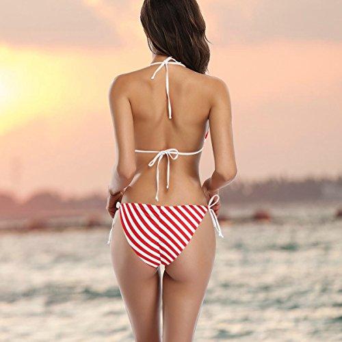 Bikini Red Stripes Alaza Femme De Bain Multicolore Oblique Deux Maillot Pièces 7wFn5TqO