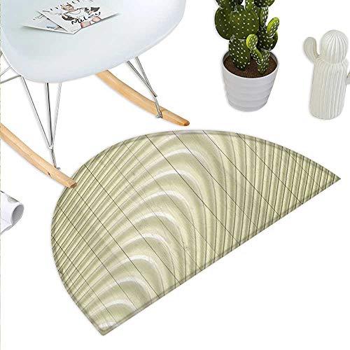 Modern Semicircular CushionFuturistic Wavy Spherical Disc Band Lines Expanding Drop Like Minimalist Art Print Entry Door Mat H 35.4