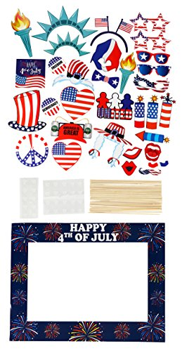 Party Photo Booth Props - 33-Pack Patriotic Party Supplies, Selfie Props and Picture Frame, American Flag Party Favors for 4th of July Parties, Patriotic Events