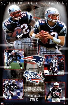 Buyartforless Exclusive New England Patriots Super Bowl 36 XXXVI Composite Championship 34.5 x 22.5 Art Print Poster ()
