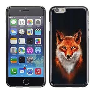 TopCaseStore / la caja del caucho duro de la cubierta de protección de la piel - Fox White Orange Red Art Portrait Painting - Apple iPhone 6