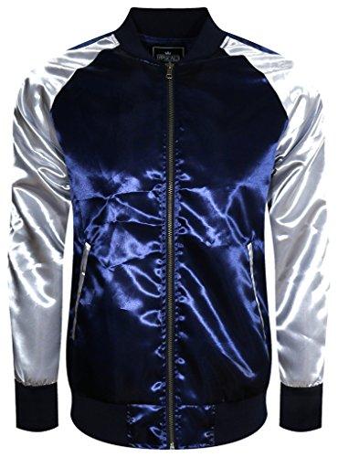 UPSCALE Mens Satin Souvenir Jacket NAVYSILVER M (Satin Authentic Jacket)