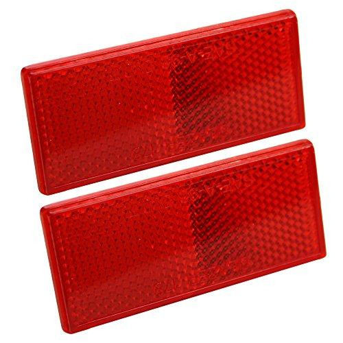 (Blazer B178SRW Rectangular Stick-On Reflector, Red, 2 Pack)