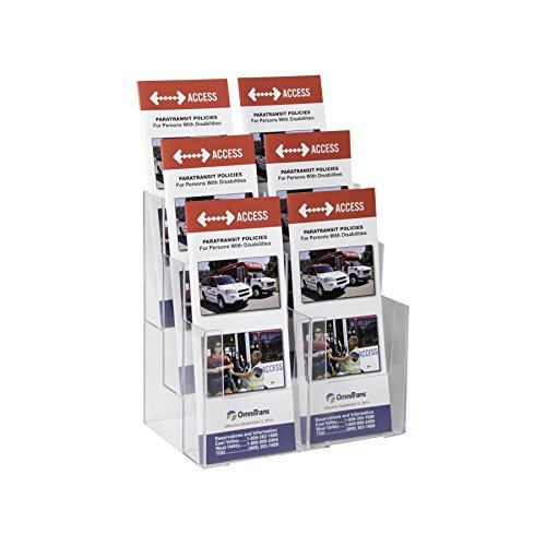 Clear-Ad - LHF-S106 - Acrylic 6-Pocket Brochure Holder (Pack of 9) (Mahogany Wall Mount Stick)