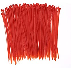 Wide 8 Inch 150 Pack Strong Red Color Heavy Duty Cable Zip Ties--Outdoor, Garden, Office, Festivals and Kitchen Use