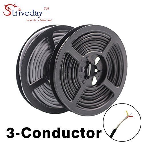 StrivedayTM 2547 28 AWG 10 Meter Black 3-core Control Cable Copper Wire Shielded Audio Cable Headphone Cable Signal -