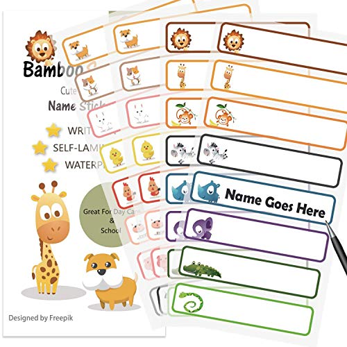 Baby Bottle Labels for Daycare,School, Waterproof Write-On, Self-Laminating Name Labels, Tags, Sticker Multiple Colors(Animals)