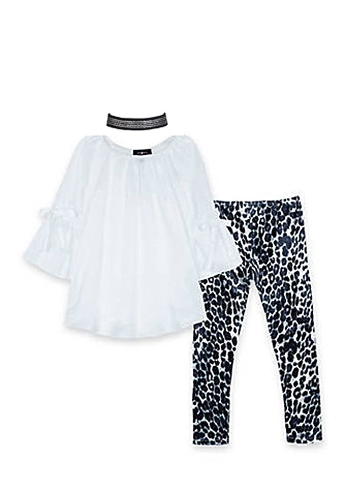 White and Navy Amy Byer Girls Off The Shoulder Top and Printed Leggings 2-Piece Set