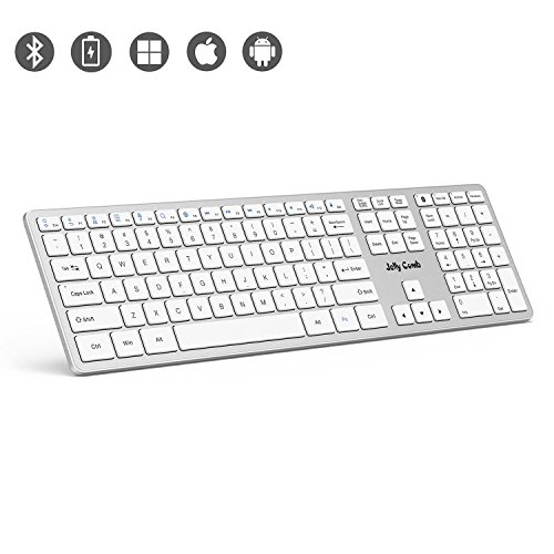 Bluetooth Keyboard—Jelly Comb K049 Full Size Bluetooth Rechargeable Keyboard Ultra Slim Universal Design for Windows iOS Android MacBook PC Laptop Tablet-(White and Silver) by Jelly Comb