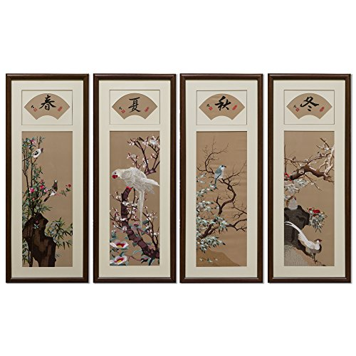 China Furniture Online Silk Embroidery Wall Decor, Four Seasons Bird and Flower in Set of Four by ChinaFurnitureOnline