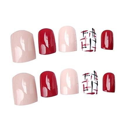 CoralStore 24 uñas falsas cortas de color rosa y morado con pegatinas acrílicas para decoración de