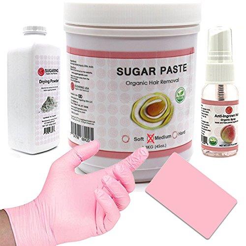 Sugaring Paste Medium 45oz. with Sugaring applicator, Anti-Ingrown Hair Spray and Sugaring Skin Drying Powder