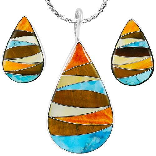 - 925 Sterling Silver Matching Pendant & Earrings Set with Genuine Gemstones 20