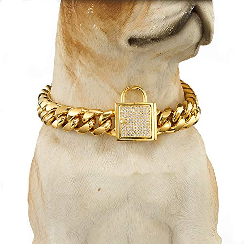 Dog Chain Collar Choker Training Heavy Duty Stainless Steel 14mm Gold Plated Cuban Link Lock Buckle Pet Necklace Small Medium Large Dogs (24 Inches)