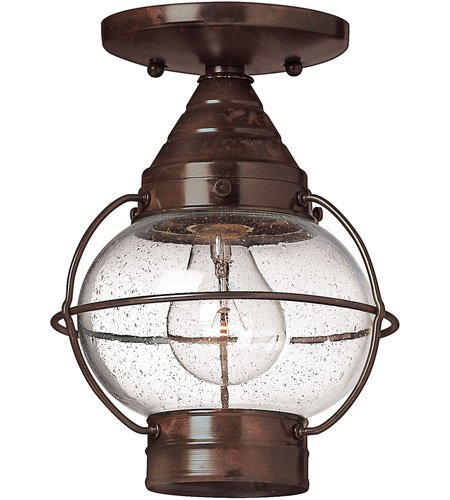 (Outdoor Wall Sconces 1 Light with Sienna Bronze Clear Seedy Solid Brass Medium Base 7 inch 60 Watts)