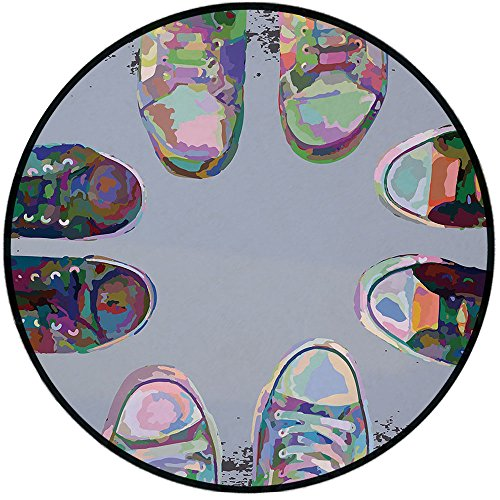 Printing Round Rug,Modern Decor,Teen Rubber Rebel Rocker Shoes in Street Squad Friends Gang Abstract Image Mat Non-Slip Soft Entrance Mat Door Floor Rug Area Rug For Chair Living Room,Multicolor