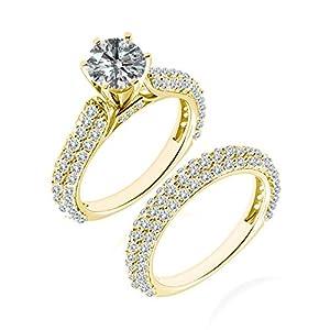 2.09 Carat G-H I2-I3 Diamond Engagement Wedding Anniversary Halo Bridal Ring Set 14K Yellow Gold