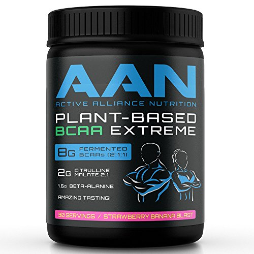 AAN Natural Plant-Based BCAA Powder Drink - Vegan Friendly, Fermented BCAAs, Citrulline Malate, Beta-Alanine - Intraworkout, Post-Workout and Pre Workout Protein