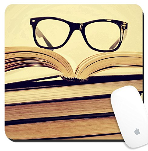 Luxlady Suqare Mousepad 8x8 Inch Mouse Pads/Mat design IMAGE ID: 24557067 picture of a pile of books and eyeglasses with a retro - Eyeglasses Of Picture