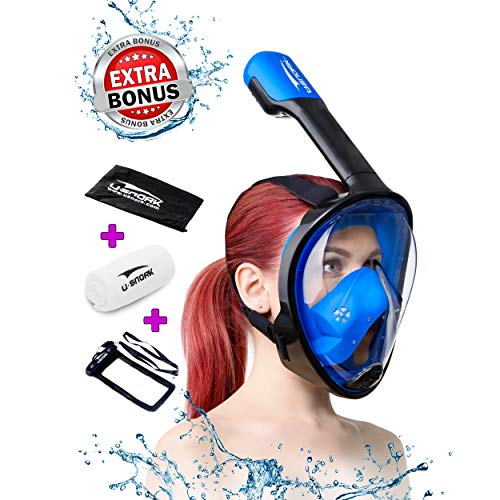 Gear Scuba Dive Black Mask - Usnork Full Face Snorkel Mask for Kids and Adults - Snorkel Set with 4 Bonus Items - Anti-Fog and Anti-Leak Easybreath Snorkeling Gear - Dive Scuba Mask with 180 Panoramic View (Black-Blue, L/XL)