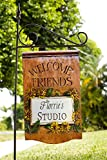 Sunflower Welcome Friends Personalized Hanging Yard Sign with Stake