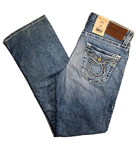 Big Star Men's Vintage Mid Rise Pioneer Bootcut Omega Faux Flap Pocket Jeans (40L) (Big Star Jeans Mens Pioneer)