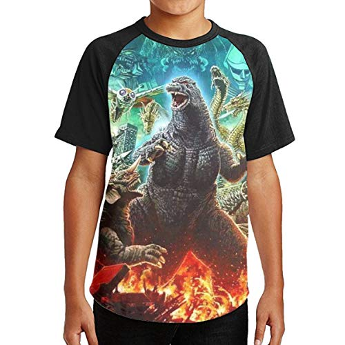 (Famous World Youth God-Zilla Tee T-Shirt for Teenager Boys Girls Black XL)