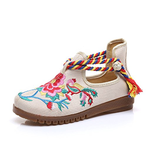 Marie De Femmes Style Chaussures forme Coin Broderie Dame Jane Plate Lazutom Chinois Robe Casual Cru Beige 4axrXAWna