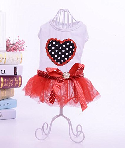Mingzi Dog Dress,Small Puppy Dog Sweetheart Princess Dress Embroidered Dotted Dress(Red)