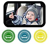 Baby Mirror for car Backseat Large Rear Facing Shatterproof Adjustable Infant Car Seat Mirror Crystal Clear View Crash Tested - Baby Registry a Must -100% Guarantee