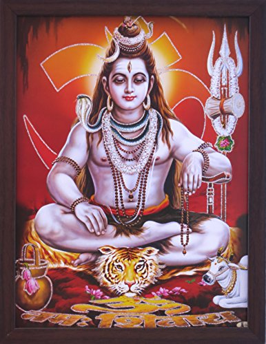 Lord Shiva doing meditation in himlaya with om symbol , A Hindu Holy Religious glitter poster painting with frame, must for every home for auspicious Religious purpose by HandicraftStore