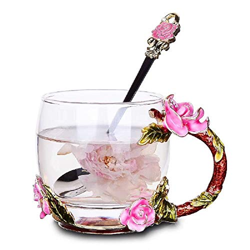 Warelegant Clear Pink Rose Tea Cup with Handle Beautiful Handmade 3D Enamel Coffee Mug Set with Flower Spoon for Cappuccino Latte in Christmas New Year Party Wedding Gift (12 oz)
