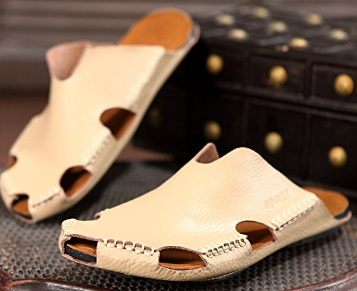 Leather Beige Men Sandals Close PU ODEMA Toe Breathable Sx5q7nAn10