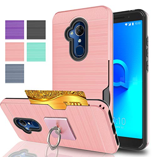 Ymhxcy for Alcatel 7 Folio Case,Alcatel 7 / Revvl 2 Plus 2018 Case with Phone Stand,[Credit Card Slots Holder][Brushed Texture] Dual Layer Shockproof Protective Cover for Alcatel 7 2018-LCK Rose Gold