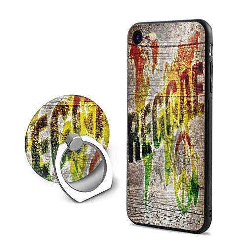Rasta iPhone 7/iPhone 8 Cases,World Map on Plaques with Reggae Lettering and Peace Symbol Pale Brown Green Yellow and Orange,Mobile Phone Shell Ring Bracket