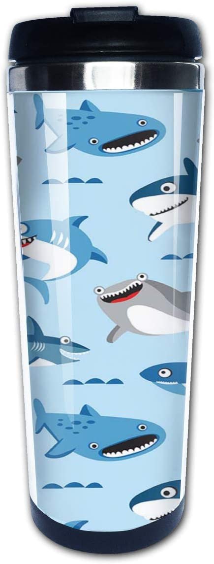 Hasdon-Hill Travel Mugs for Women Cartoon Shark Coffee Mug Tea Cup Stainless Steel Mug Gifts 12 Oz