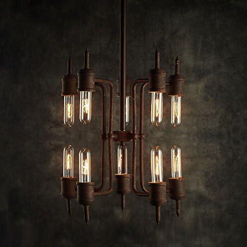 Industrial Pipe Metal Tubular Chandelier – LITFAD 10 Heads Retro Rustic Punk Steam Ceiling Light Vintage Edison Pendant Light