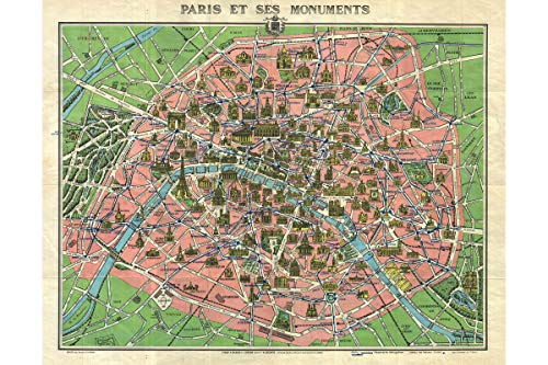 History Prints Paris with Monuments; 1920s Leconte Map; Beautiful Antique Cartography
