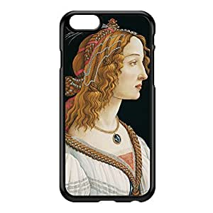 Idealized Portrait of a Lady by Sandro Botticelli Black Hard Plastic Case for iPhone 6 by Painting Masterpieces + FREE Crystal Clear Screen Protector