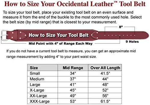 Occidental Leather 5035 SM 3-Inch Top-Grain Ranger Work Belt, Small, S