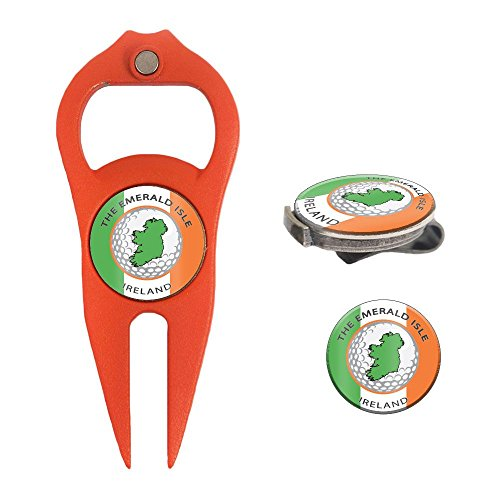 Divot Ball Cap Tool Golf (Hat Trick Openers 6-in-1 Golf Divot Tool & Hat Clip Set with Ireland Logo, Orange)