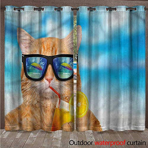 (cobeDecor Funny 0utdoor Curtains for Patio Waterproof Cat with Glasses and Cocktail W96 x L96(245cm x 245cm))