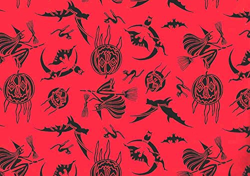Witches Goblins Bats Pumpkins Halloween Gift Wrap Paper 1 Continuous 8 Ft -