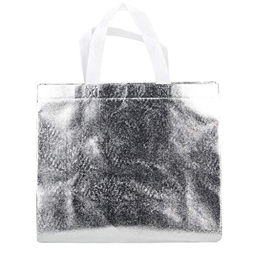 (Rumcent Bling Bling Glossy Durable Reusable Medium Non-woven Gift Bag Set Of 5,Shopping Bag,Promotional Bag(Silvery))